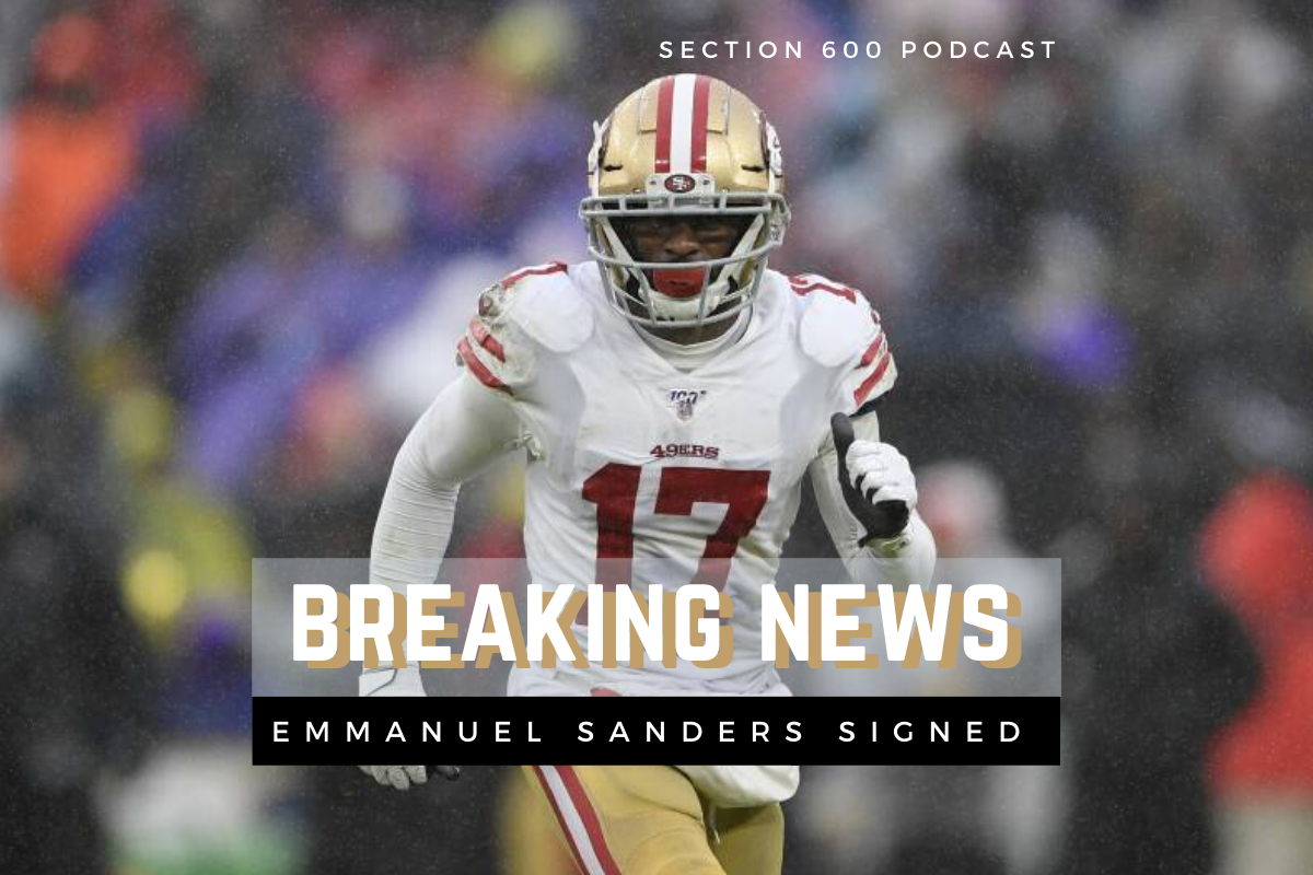 Emmanuel Sanders running in rainy game, san fransisco 49ers